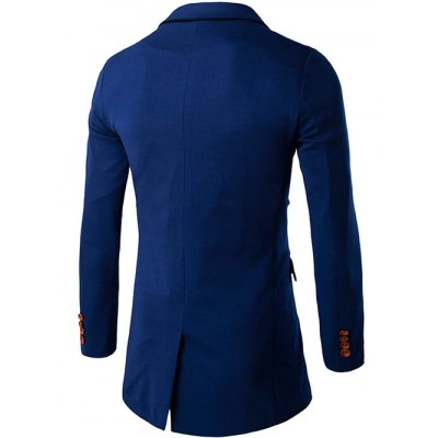 Slim Constrast Button Back Slit BlazerMens Blazers<br>Slim Constrast Button Back Slit Blazer<br><br>Material: Cotton,Polyester<br>Clothing Length: Long<br>Sleeve Length: Long Sleeves<br>Closure Type: Single Breasted<br>Weight: 0.750kg<br>Package Contents: 1 x Blazer