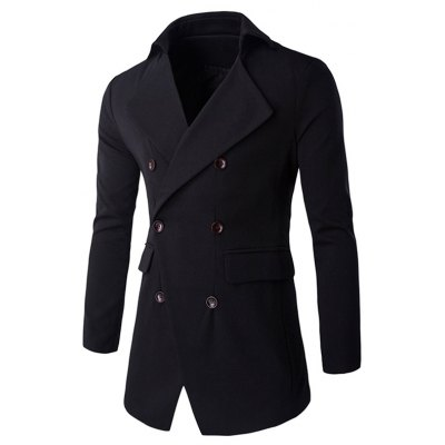 Slim Double Breasted Notched Collar Coat