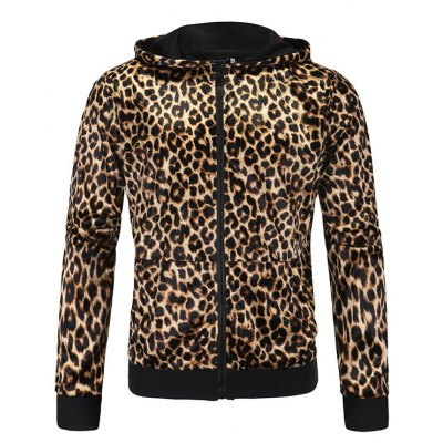 Leopard Print Long Sleeve Zip Up Hoodie