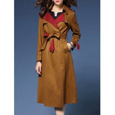 Wrapped Faux Suede Trench Coat