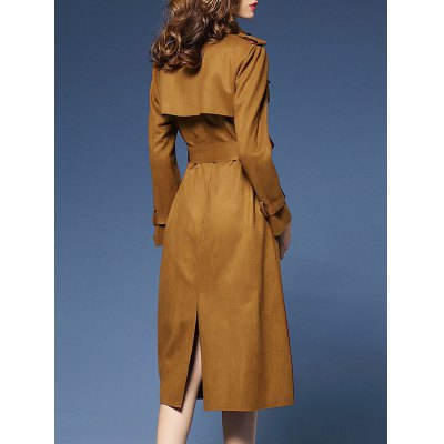 Wrap Faux Suede Trench Coat