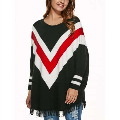Batwing Sleeve Fringed Striped Pullover