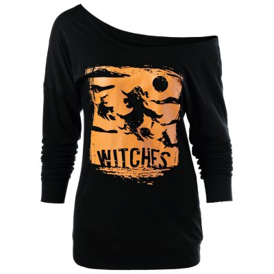 Witches Print Skew Neck Sweatshirt
