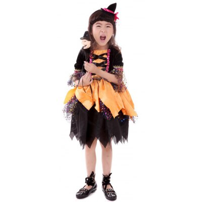 Girls Cartoon Halloween Witch Cosplay Dress