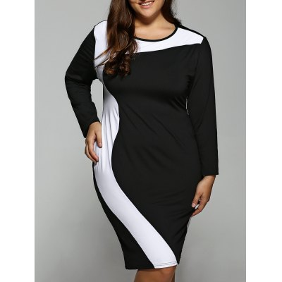 Plus Size Color Block Long Sleeve Dress