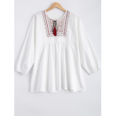 Embroidered Fringed Blouse
