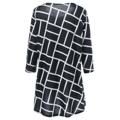 Plus Size Geometric Smock BlousePlus Size Tops<br>Plus Size Geometric Smock Blouse<br><br>Material: Polyester,Spandex<br>Clothing Length: Long<br>Sleeve Length: Three Quarter<br>Collar: Scoop Neck<br>Style: Casual<br>Season: Fall,Spring,Summer<br>Pattern Type: Geometric<br>Weight: 0.370kg<br>Package Contents: 1 x Blouse