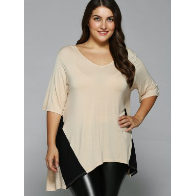 Plus Size Asymmetrical BlousePlus Size Tops<br>Plus Size Asymmetrical Blouse<br><br>Material: Rayon,Spandex<br>Clothing Length: Regular<br>Sleeve Length: Half<br>Collar: V-Neck<br>Style: Casual<br>Season: Summer<br>Pattern Type: Solid<br>Weight: 0.360kg<br>Package Contents: 1 x Blouse