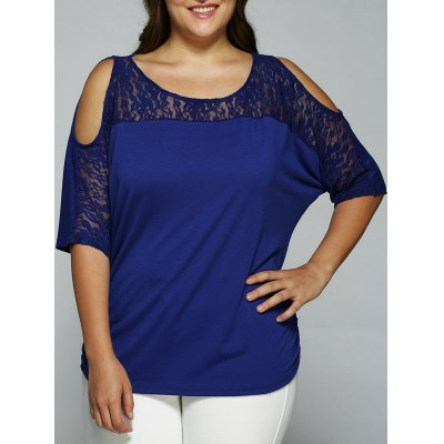 Plus Size Cold Shoulder Lace Patchwork Blouse