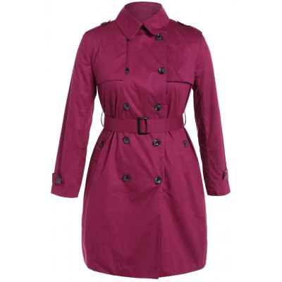 Plus Size Double-Breasted Tie-Waist Trench Coat