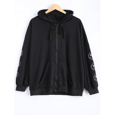 Plus Size Smile Embroidered Jacket with Hood