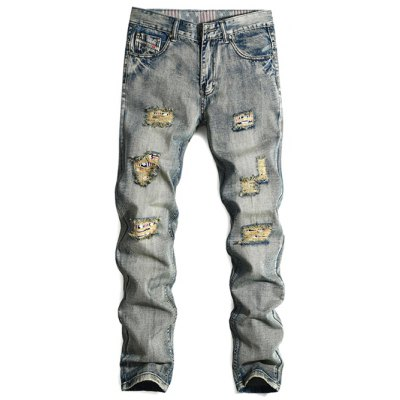 Cat's Whisker Distressed Zipper Fly Straight Leg Jeans