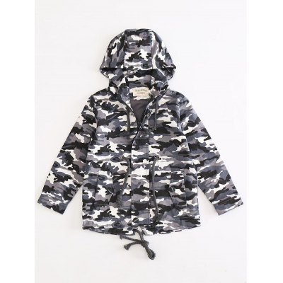 Drawstring Hooded Camo Jacket