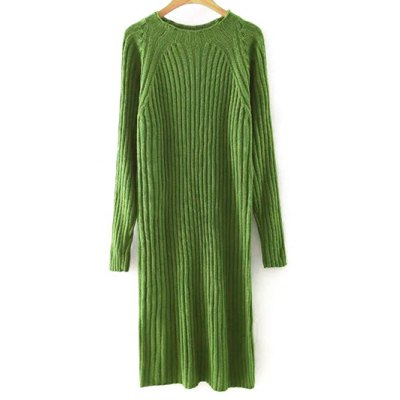 Round Neck Long Sleeve Solid Color Sweater Dress