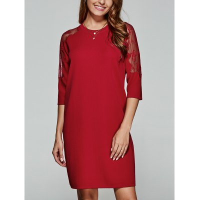 3/4 Sleeves Laciness Knitted Dress