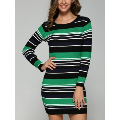 Multicolor Striped Slim Dress