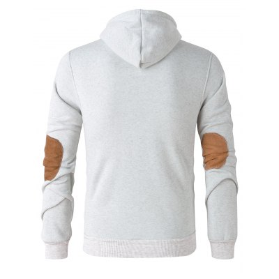 Elbow Patch Long Sleeve Drawstring Pullover Hoodie