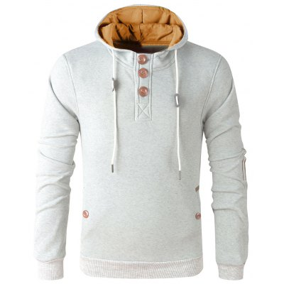 Elbow Patch Long Sleeve Pullover Hoodie