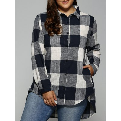 Plus Size Plaid Asymmetrical Shirt