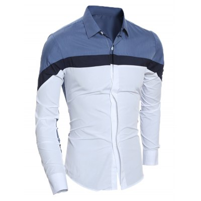 Slim Long Sleeve Color Block ShirtMens Shirts<br>Slim Long Sleeve Color Block Shirt<br><br>Collar: Turn-down Collar<br>Material: Cotton, Polyester<br>Package Contents: 1 x Shirt<br>Shirts Type: Casual Shirts<br>Sleeve Length: Full<br>Weight: 0.2120kg
