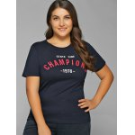 cheap Short Sleeves Champions Print T-Shirt