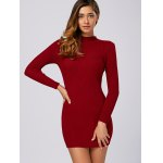 cheap Ribbed Long Sleeve Sweater Dress