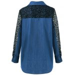 cheap Lace Patchwork Sleeve Flap Pockets Denim Shirt