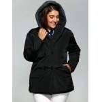 cheap Plus Size Double-Breasted Knit-Insert Hooded Coat
