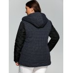 Plus Size Double-Breasted Knit-Insert Hooded Coat deal