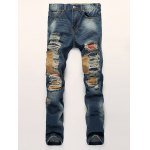 Patch Design Distressed Zipper Fly Straight Leg Jeans