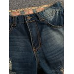 cheap Patch Design Distressed Zipper Fly Straight Leg Jeans