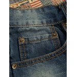 Patch Design Distressed Zipper Fly Straight Leg Jeans deal