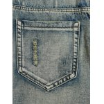 Cat's Whisker Distressed Zipper Fly Straight Leg Jeans photo