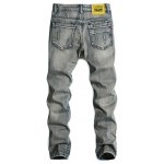 cheap Cat's Whisker Distressed Zipper Fly Straight Leg Jeans