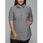 Plus Size Striped Kitten Embroidered Shirt