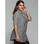 cheap Plus Size Striped Kitten Embroidered Shirt