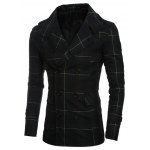 cheap Double-Breasted Turn-Down Collar Checked Lengthen Coat