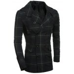 Double-Breasted Turn-Down Collar Checked Lengthen Coat