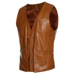 cheap Faux Twinset V-Neck Single-Breasted PU-Leather Wasitcoat