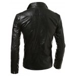 Stand Collar Zip Up Faux Leather Jacket deal