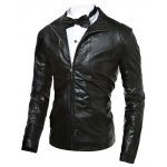 cheap Stand Collar Zip Up Faux Leather Jacket