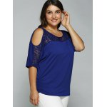 Plus Size Cold Shoulder Lace Patchwork Blouse deal