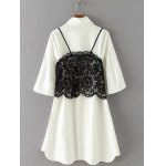cheap Lace Crop Top and Bell Sleeves Shirt Dress Twinset