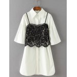 Lace Crop Top and Bell Sleeves Shirt Dress Twinset