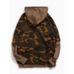 cheap Camouflage Pattern Long Sleeve Faux Twinset Hoodie