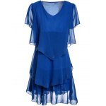 Stylish Women's Short Sleeve Pure Color Scoop Neck Dress for sale