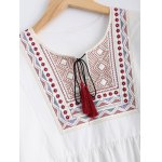 Plus Size Embroidered Fringed Blouse for sale