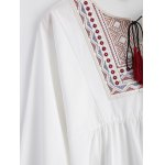 Plus Size Embroidered Fringed Blouse deal