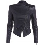 Chic Pure Color Zipped Jacket For Women photo