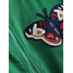 Plus Size Butterfly Embroidered Bomber Jacket photo